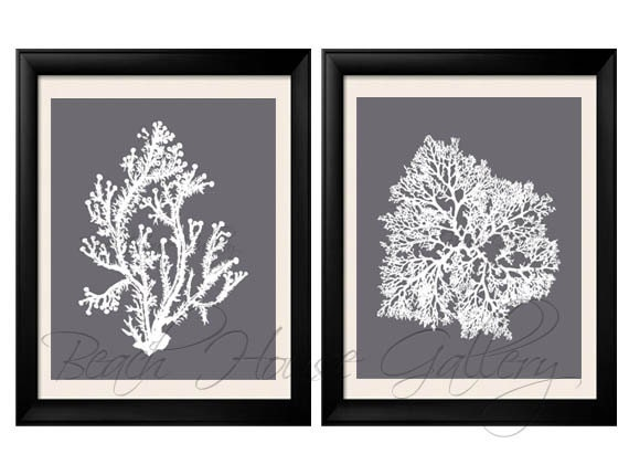 Gray Coral Wall Art, Cool Grey Coral Print, Grey White Wall Art, Gray Home  Decor, Coral Print, Set Of Two Prints, Custom Colors