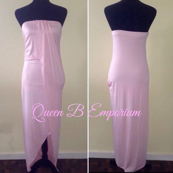Classy Pink Empire Waisted Cascading Evening Maxi Dress