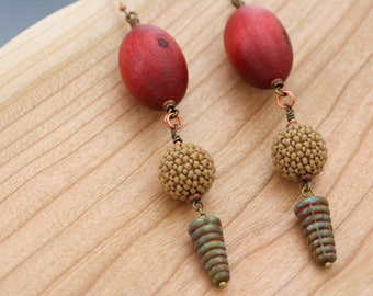 Beaded bead earrings. Long dangle earrings. Statement earrings. Glass, wood, brass. Cone beads and oval beads.