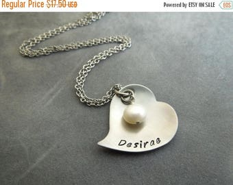 Holiday Sale Personalized heart mothers / grandmothers necklace hand stamped stainless steel