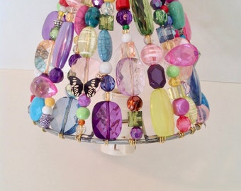 Butterfly Garden Beaded Night Light (READY TO SHIP)