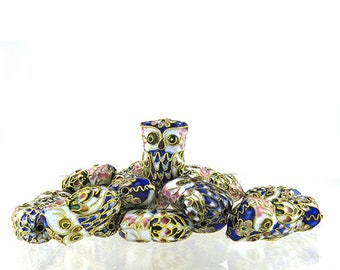 Enameled, Multi-colored Owl Beads, Parliament of 6