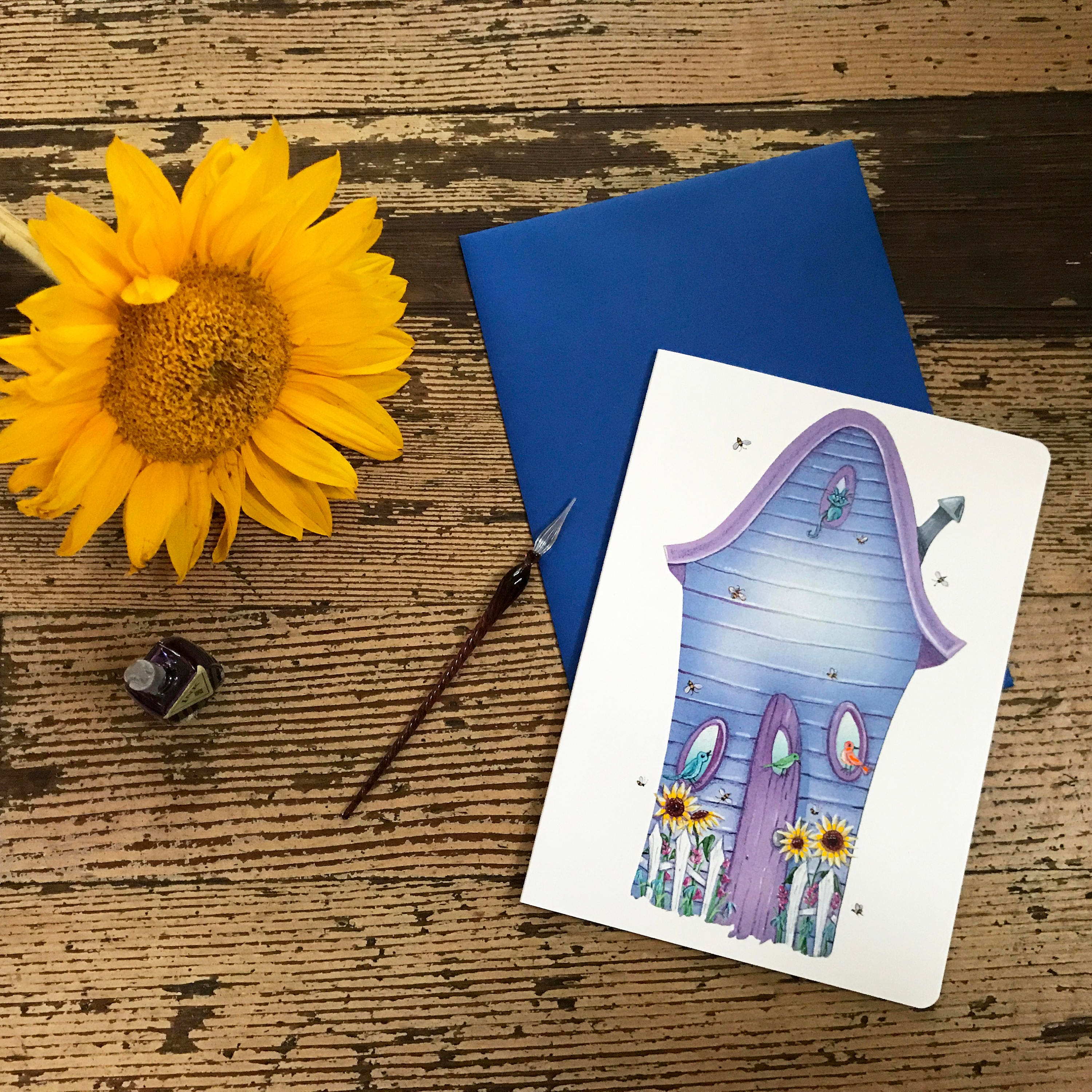Birds and the bees blank card house warming greeting card home birds and the bees blank card house warming greeting card home sweet home postal card floral greetings valerie walsh greeting cards kristyandbryce Image collections