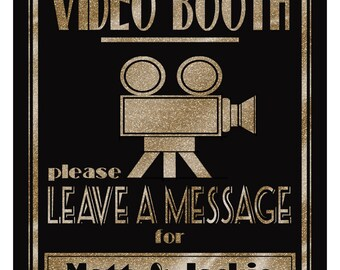 Personalized VIDEO  BOOTH sign   PRINTABLE 1920's wedding sign, Graduation video, Anniversary party sign, digital file, diy wedding decor