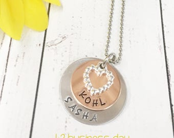 Stacked Mothers Necklace - Mixed Metal Necklace - Mothers Heart Necklace - Aluminum Copper - Name Necklace - Mom Necklace - Mothers Day Gift