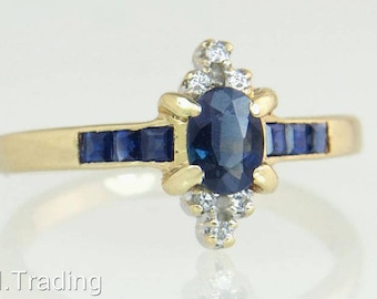 Estate 14K Yellow Gold .60ct Genuine Diamond & Blue Sapphire Engagement Ring