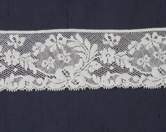 "White French Lace Edging, Heirloom Sewing Lace 2 1/4"", Floral Lace"