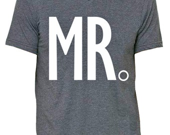 MR. Groom Shirt Gray V-neck, Groom Vneck, Wedding shirt, wedding, Honeymoon shirt