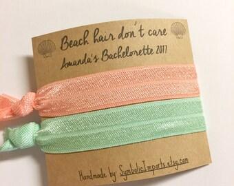 Bachelorette Party Favor - Beach Hair Don't Care - Bachelorette Party Hair Tie Favors - Beach Bachelorette Favors - Headband Favor /Hair Tie