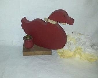 Vintage Folk Art Red Wood Duck Candle Holder, Wooden Duck Taper Candle Holder, Duck Decor, Red