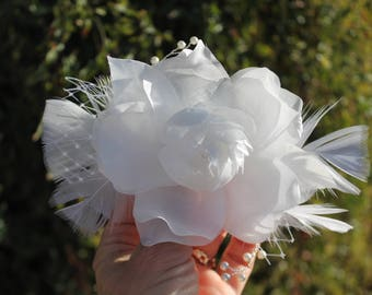 Flower Fascinator Wedding Flower Comb, Ivory Rose Fascinator, Feathers Pearls Comb, Hair Clips  Flower Hair Fascinator,  Hair Piece
