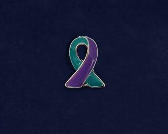 25 Lapel Teal & Purple Ribbon Pins (25 Pins) (P-06-32)