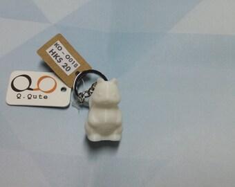 Squirrel 3D Print Keychain - White