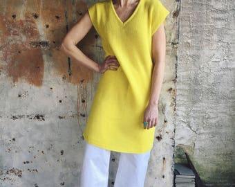 1960s Citron Bright Yellow Knit Sweater Dress Tunic