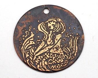 Copper mermaid pendant, flat etched, Cynthia Thornton design, 28mm
