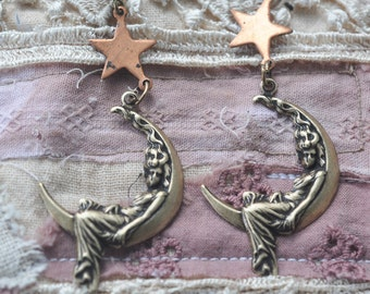 Lady on the Moon Earrings with Distressed Copper Stars, Dangle Earrings