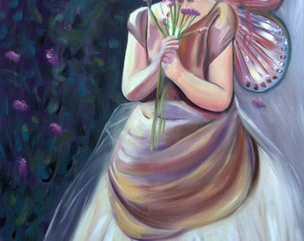 Flower Fairy, oil painting, 24x36, wall art, little girl picking flowers, home decor, child's room, canvas