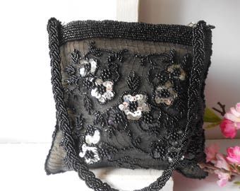 Black Evening Bag, Vintage Evening Bag, Black Bead Purse, Vintage Bead Bag, Soft Side Bag, Sparkly Purse EB-0331