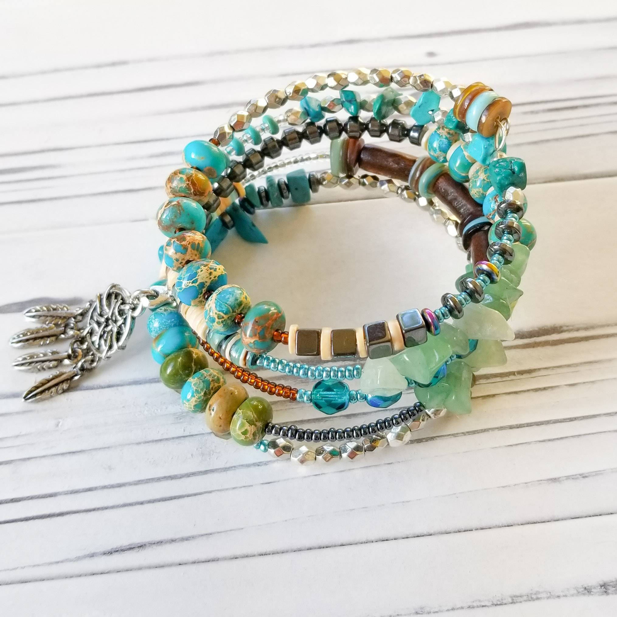 Top Dream Catcher Bohemian Cuff Wrap Beaded Bracelet with Native  UW15