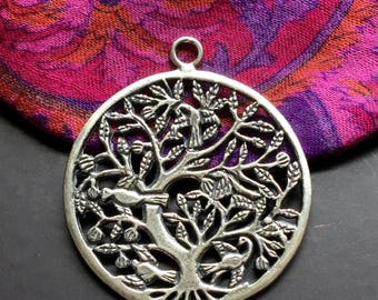 Tree of Life Pendant Large Round Sterling Silver Pendant One Piece