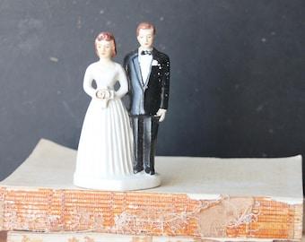 Vintage Wedding Cake Topper, Bride and Groom Cake Topper,  Vintage Wedding