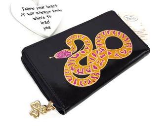 Leather wallet for Women, credit card wallet Snake zip around wallet , Monedero de mujer, hand painted Zip around iPhone wallet,
