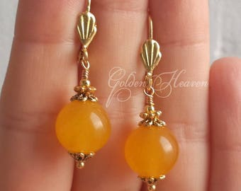 Yellow earrings Natural Jade Earrings Gold Round Earrings Leverback Gemstone Jewelry handmade yellow gold cute gift for her