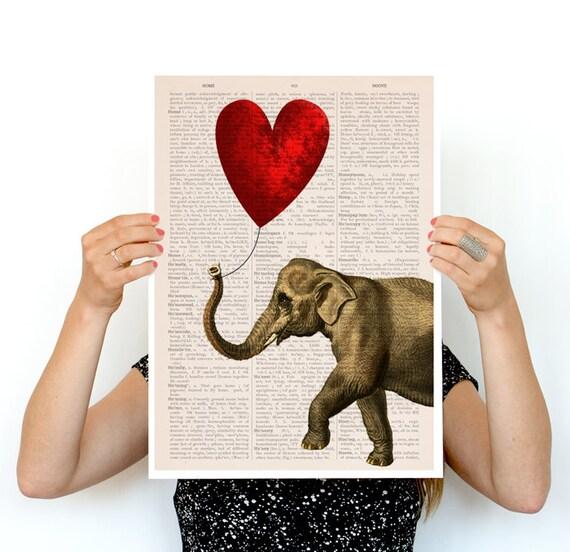 Elephant with a red heart shaped balloon, Elephant art, Nursery art, Wall decor, Wall art, Animal art, Animal decor, Wholesale,  ANI083PA3