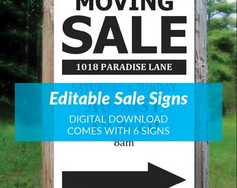 printable sale sign 85x11 85x14 neighborhood garage rummage