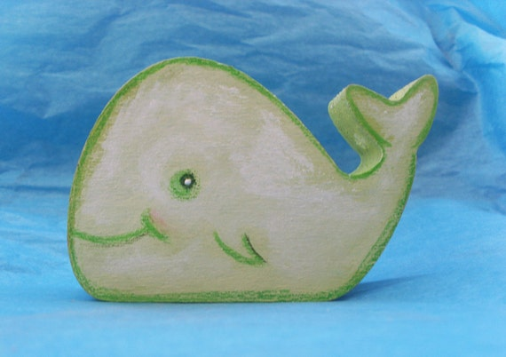 WOODEN WHALE / DOLPHIN - Handpainted decorative sculptures