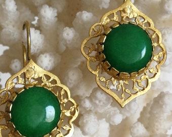 Vintage Jade Green and brass earrings
