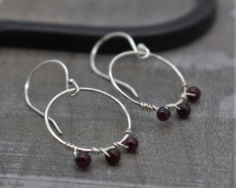 Garnet Hoop Earrings - Sterling Silver Dangle Earrings -Gift for Her - Red Earrings - Silver Earrings