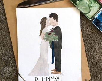 Custom Bride and Groom Watercolor Painting, Unique Wedding gift, custom wedding gift, first anniversary gift, custom christmas gift art