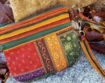 Autumn Wristlet, Zippered Cosmetic Bag, Small Wristlet, Patchwork Zipper Bag, Double Zipper Wristlet, Fabric Wristlet, Floral Wristlet
