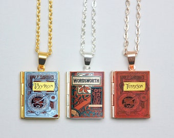 Vintage Poetry Book Locket Charms. William Wordsworth Book Charm. Alfred Tennyson Book Necklace. Lord Byron Poem Jewelry. Literary Gift