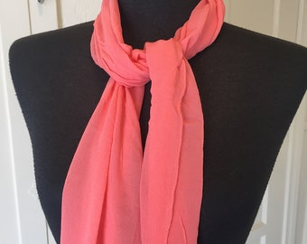Vintage Pink Sheer Scarf, Pink Coral Chiffon Scarf, Coral Pink, 50's 60's Style, Rockabilly, Pin Up, He Neck Scarf, Hair Scarf