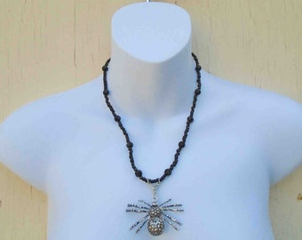 Vintage Early Nineties Black Beaded Spider Pendant Necklace / Whimsical Insects Fantasy Jewelry