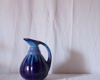 Vintage Blue Mid Century Jug / Vintage Ceramic Pottery / Vintage Pitcher / Glazed Ceramic Jug / Vintage Ceramic Vase / Blue Pottery Vase /