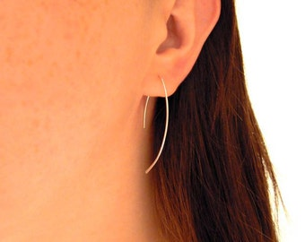 Large simple silver earrings, sterling silver Zen hoops, simple everday earrings, elegant earrings.
