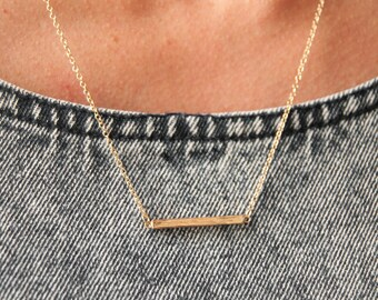 thin horizontal bar necklace- gold bar necklace- thin gold necklace - dainty gold necklace - delicate bar necklace-everyday jewelry