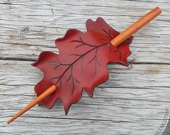Leather Leaf Hair Stick, Autumn Red Oak Leaf Hairslide, Stick Barrette, Shawl Pin, Medium Size, Rounded White Oak Shape, Long Hair Accessory