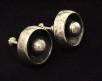 Vintage MEXICO Mid Century Modern Sterling Silver Circle Screw Back Earrings