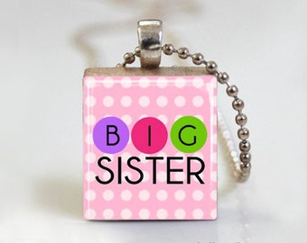 Big Sister Polkadot - Scrabble Tile Pendant - Free Ball Chain Necklace or Key Ring