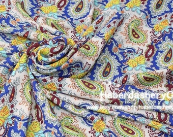 1 Meter Chiffon Fabric CH120B - Wonderful Paisley in Turquoise