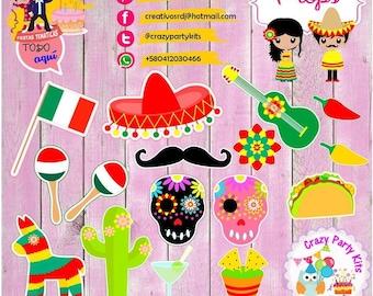 Props Viva Mexico Kit #Imprimible (#Accesorios) #DIY PhotoBooth