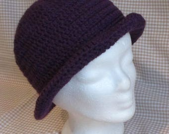 Hat/Bonnet purple Bell with shapeable brim in will crocheted handmade T56/58