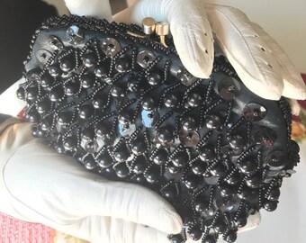 Black Evening Bag - Black Beaded Clutch Purse, Black Beaded Evening Purse