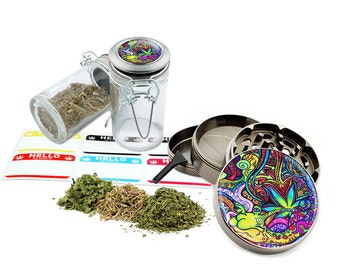 "Psychedelic Leaf - 2.5"" Zinc Alloy Grinder & 75ml Locking Top Glass Jar Combo Gift Set Item # G022015-014"