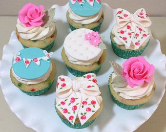 Shabby Chic Cupcake Toppers - One Dozen ( 12 )