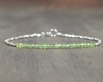 Peridot silver bracelet delicate peridot silver bracelet silver beaded peridot august birthstone bracelet silver beaded peridot